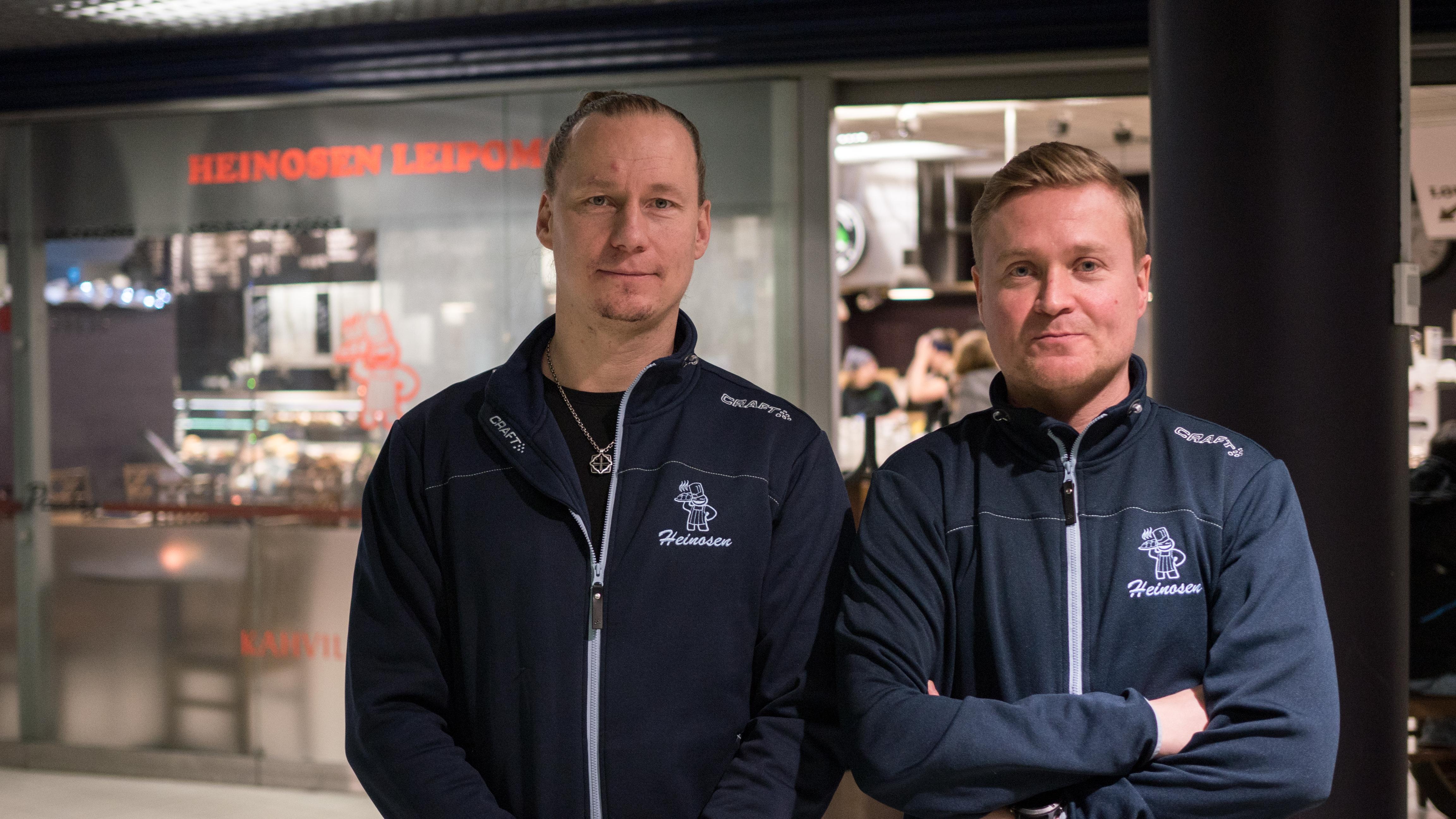 Heinosen Leipomon yrittäjät Hannu Voutilainen ja Petri Halonen